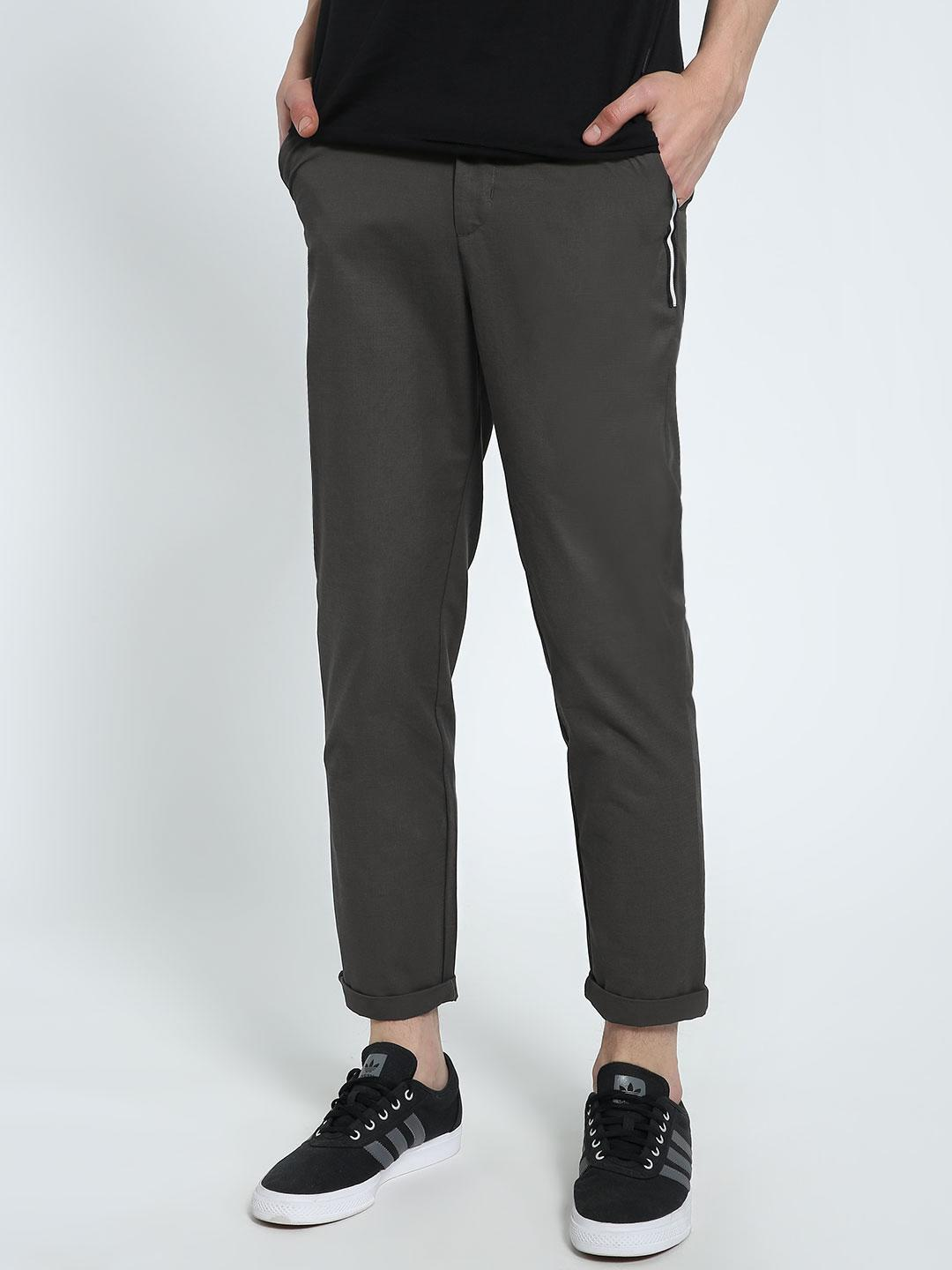 CHELSEA KING Dark Green Contrast Tape Detail Chinos 1