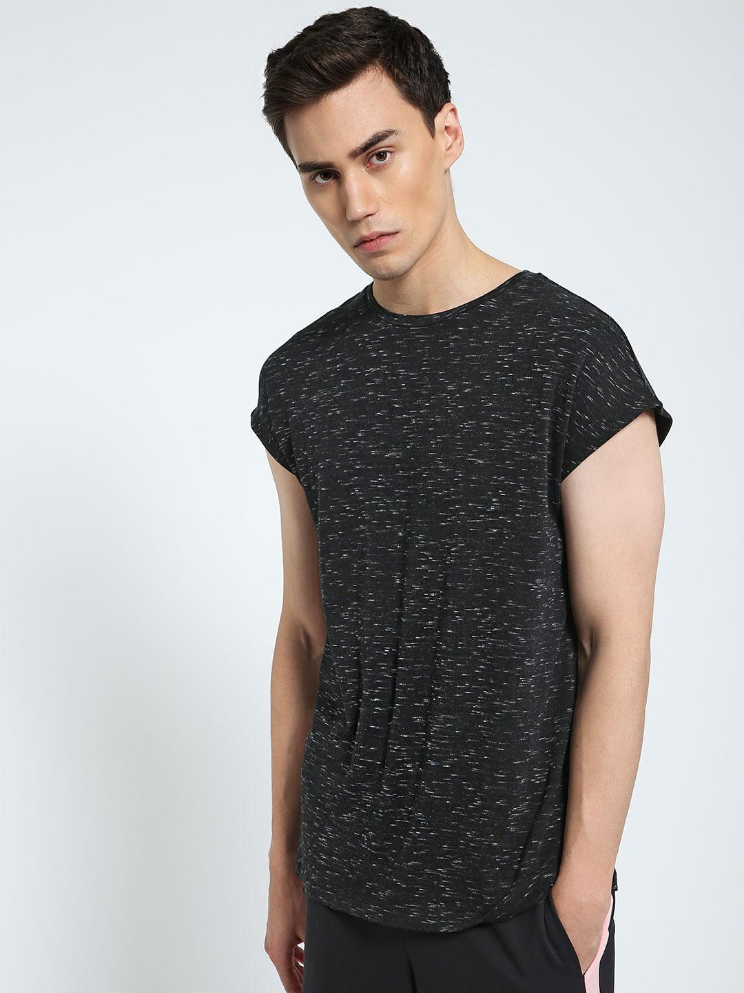 CHELSEA KING Charcoal Textured Crew Neck T-Shirt 1