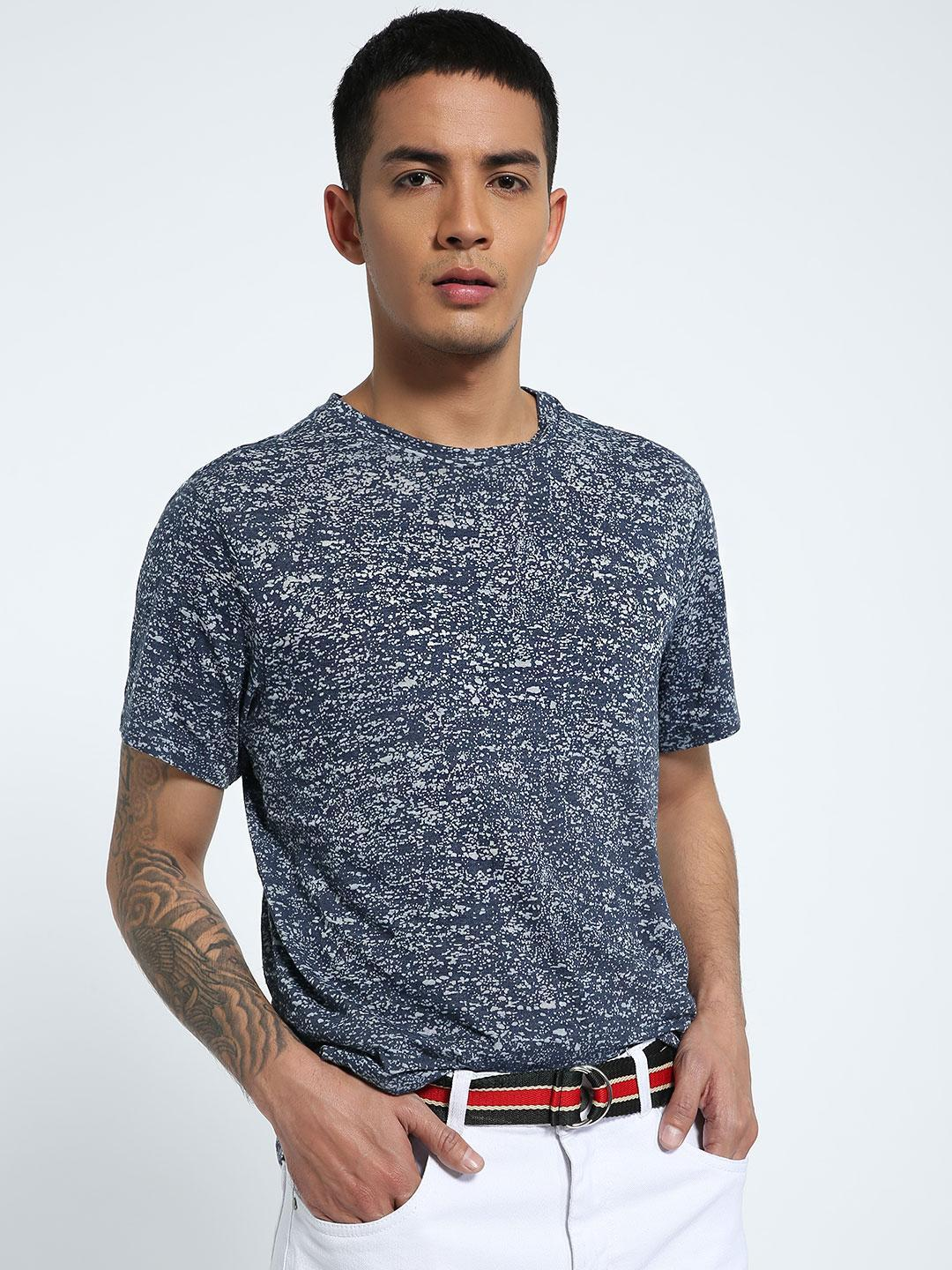 CHELSEA KING Blue Burnout Crew Neck T-Shirt 1