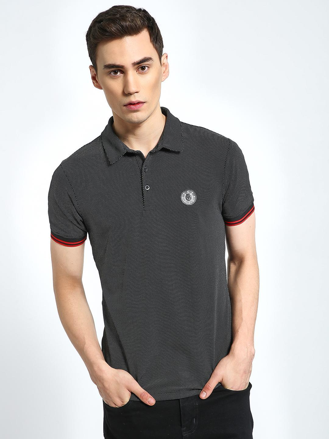 CHELSEA KING Charcoal Ditsy Textured Badge Polo Shirt 1