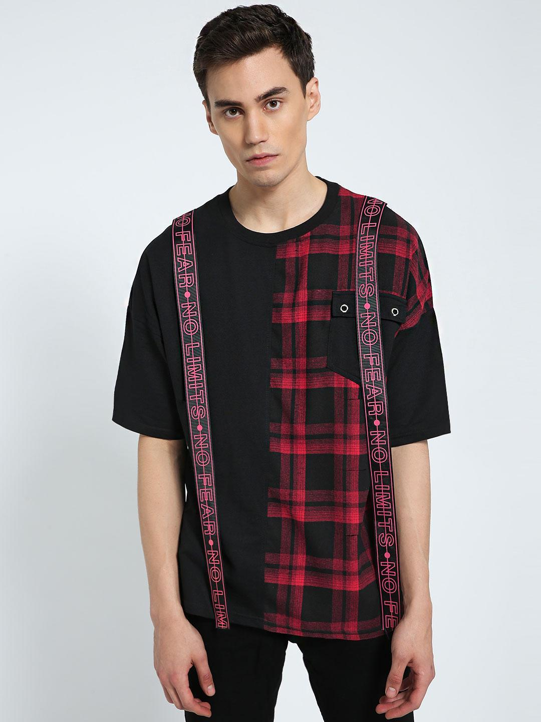 CHELSEA KING Multi Check Cut & Sew Extended Tape T-Shirt 1
