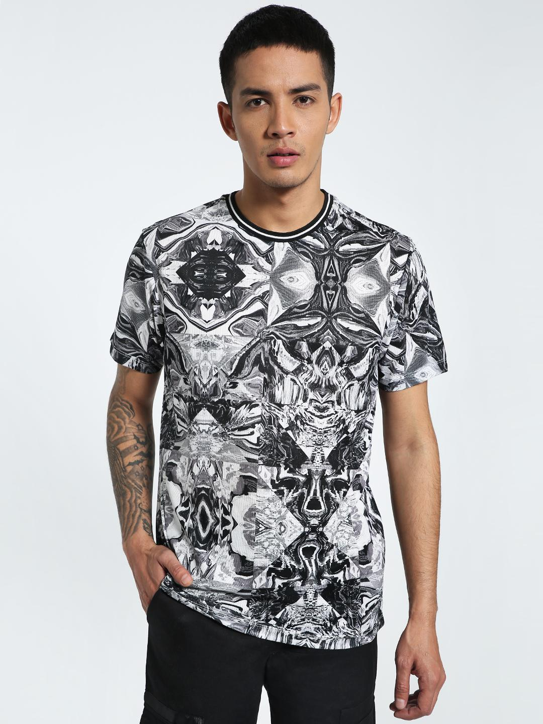 CHELSEA KING Multi Kaleidoscope Tipped Crew Neck T-Shirt 1