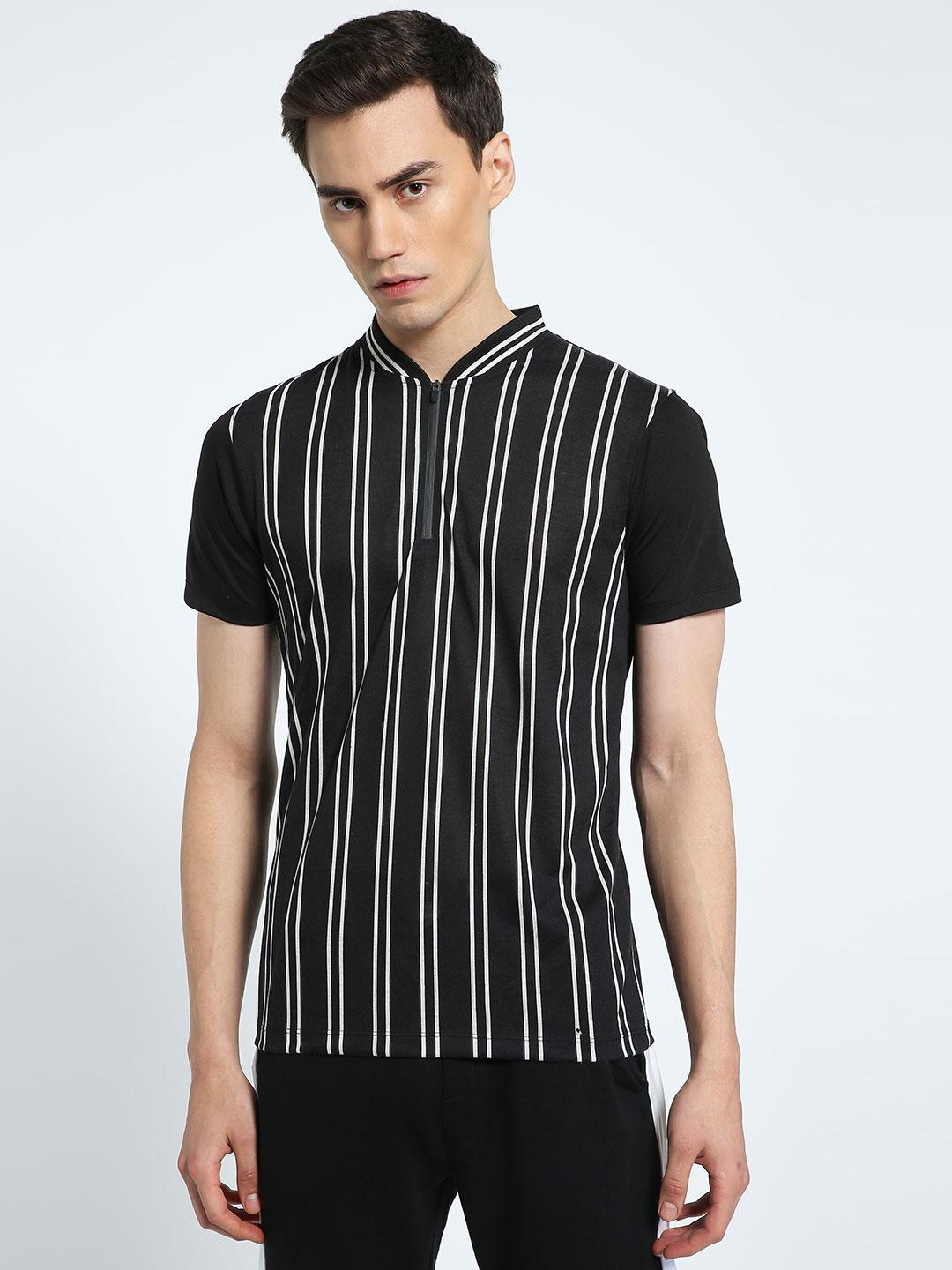 CHELSEA KING Multi Vertical Stripe Baseball Polo Shirt 1