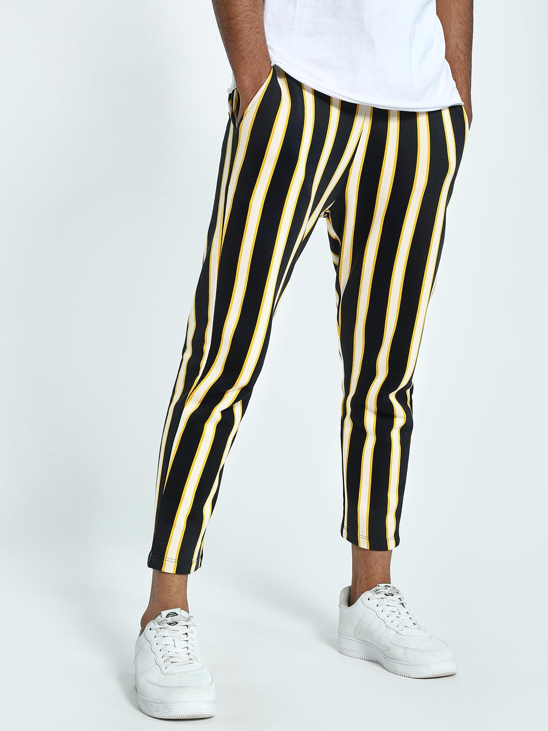 KOOVS Multi Vertical Stripe Cropped Jog Pants 1
