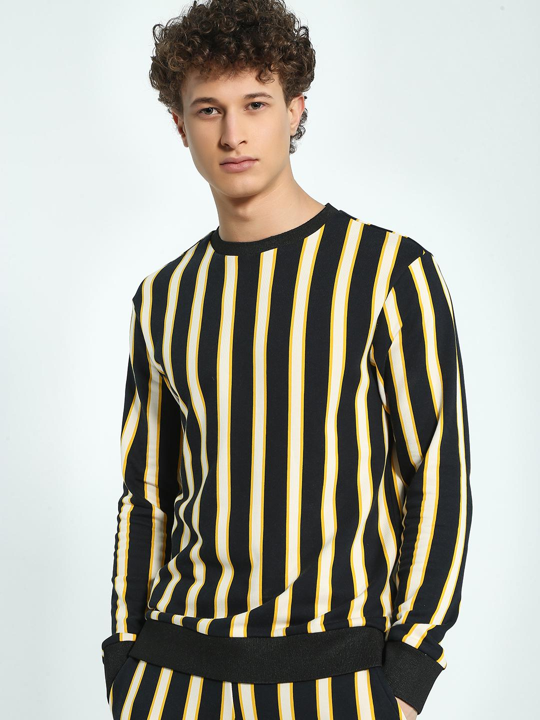 KOOVS Multi Vertical Stripe Crew Neck Sweatshirt 1