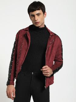 KOOVS Studded Panel Biker Jacket