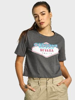 KOOVS Text Print Crop Boxy T-Shirt