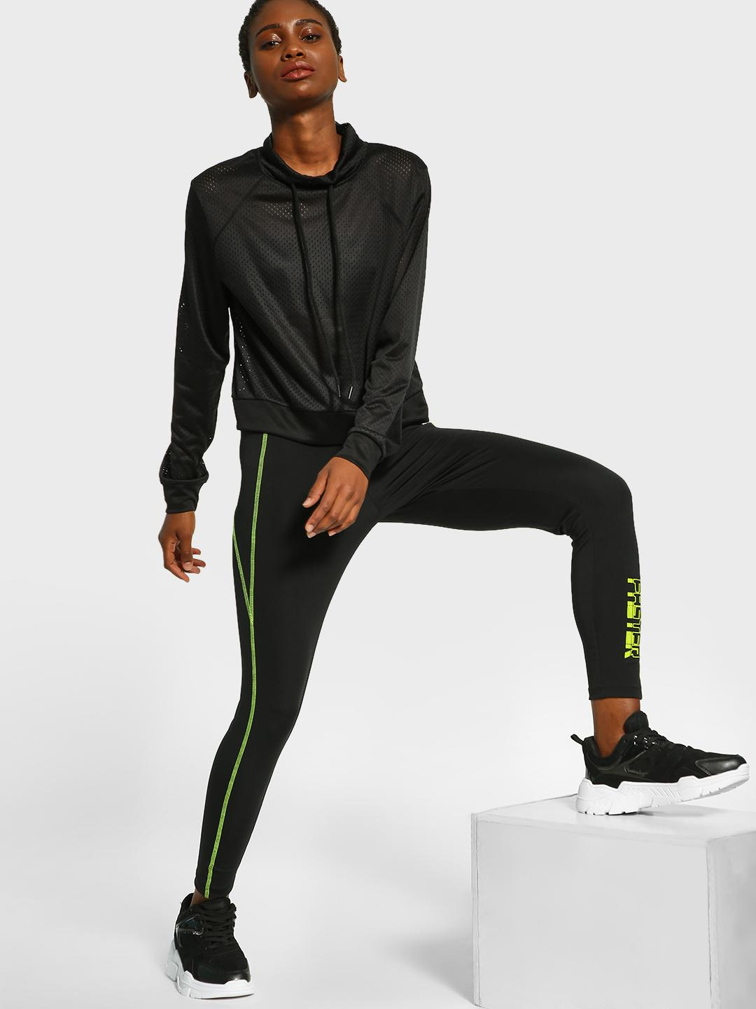 K ACTIVE Black KOOVS Faster Contrast Seam Leggings 1