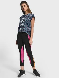 K ACTIVE KOOVS Colour Block Panel Cropped Leggings