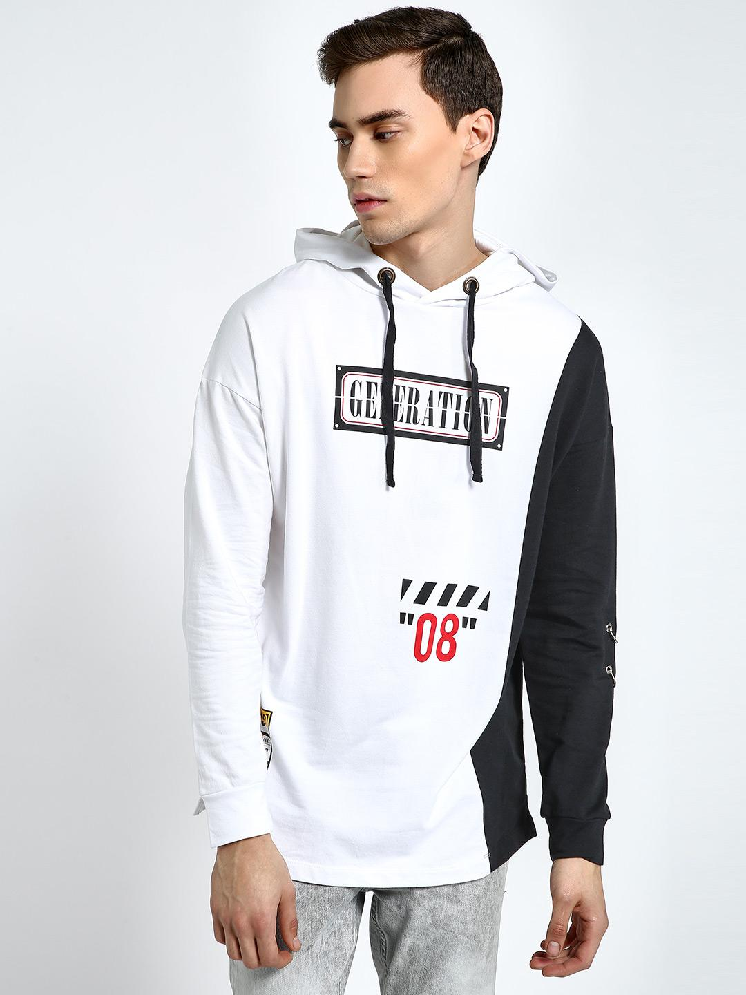 KOOVS Multi Spliced Text Print Longline Hoodie 1