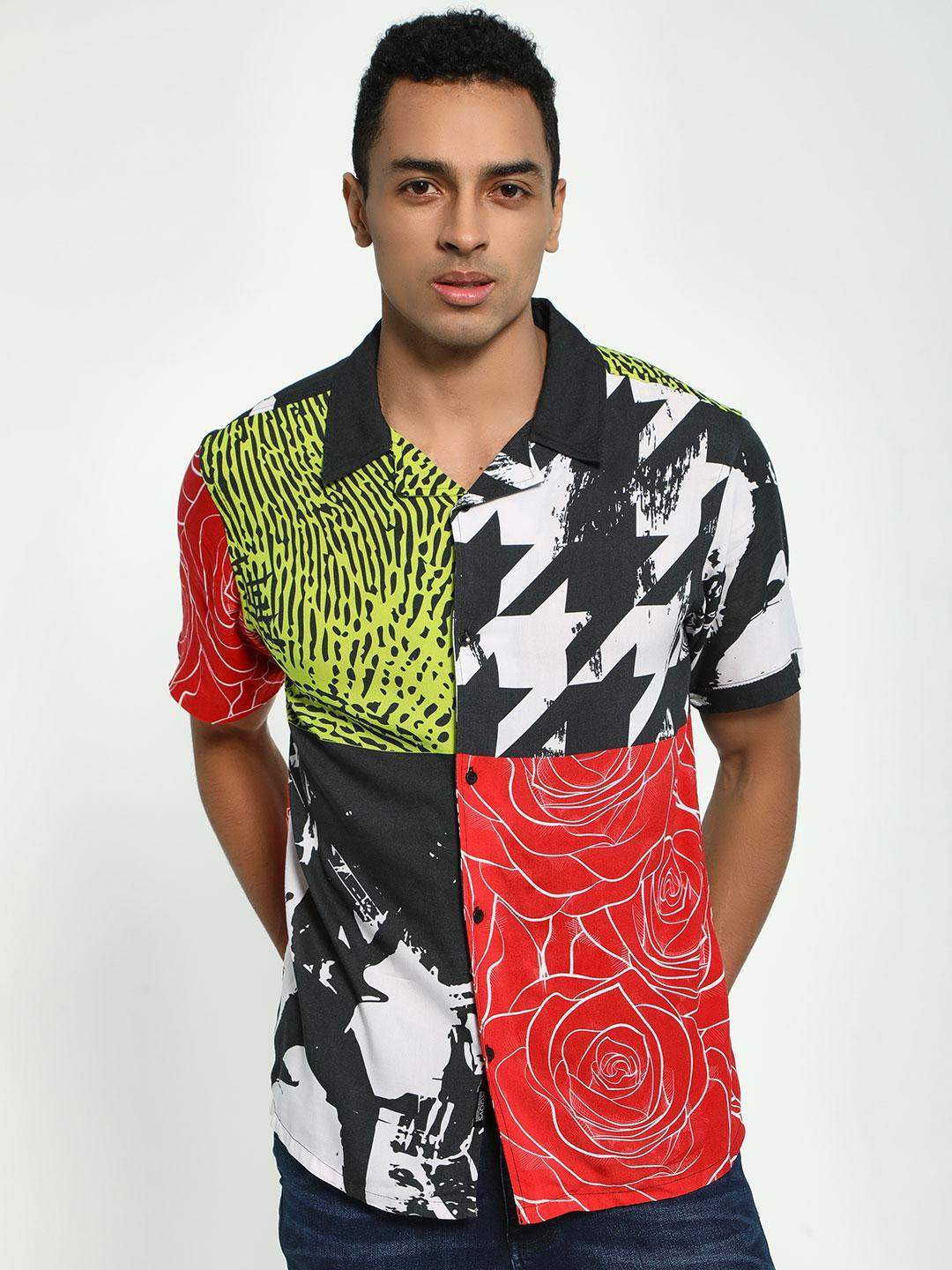 KOOVS Multi Collage Print Cuban Collar Shirt 1