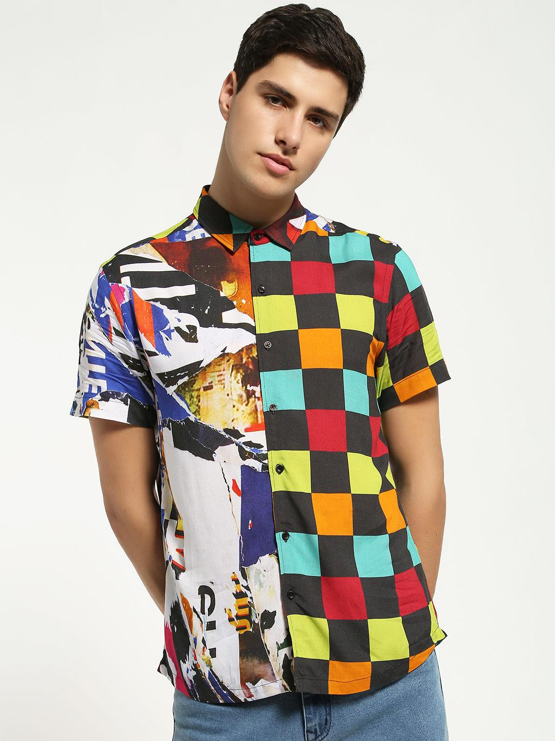 KOOVS Multi Collage Checkerboard Print Shirt 1