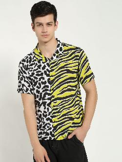 KOOVS Half & Half Animal Print Cuban Shirt