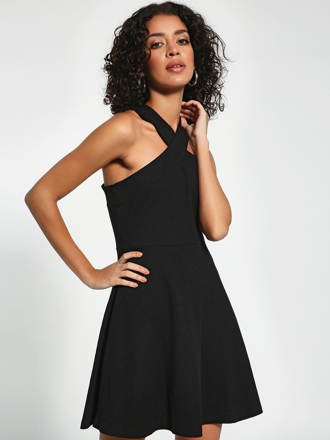 KOOVS Black Criss-Cross Neck Skater Dress 1