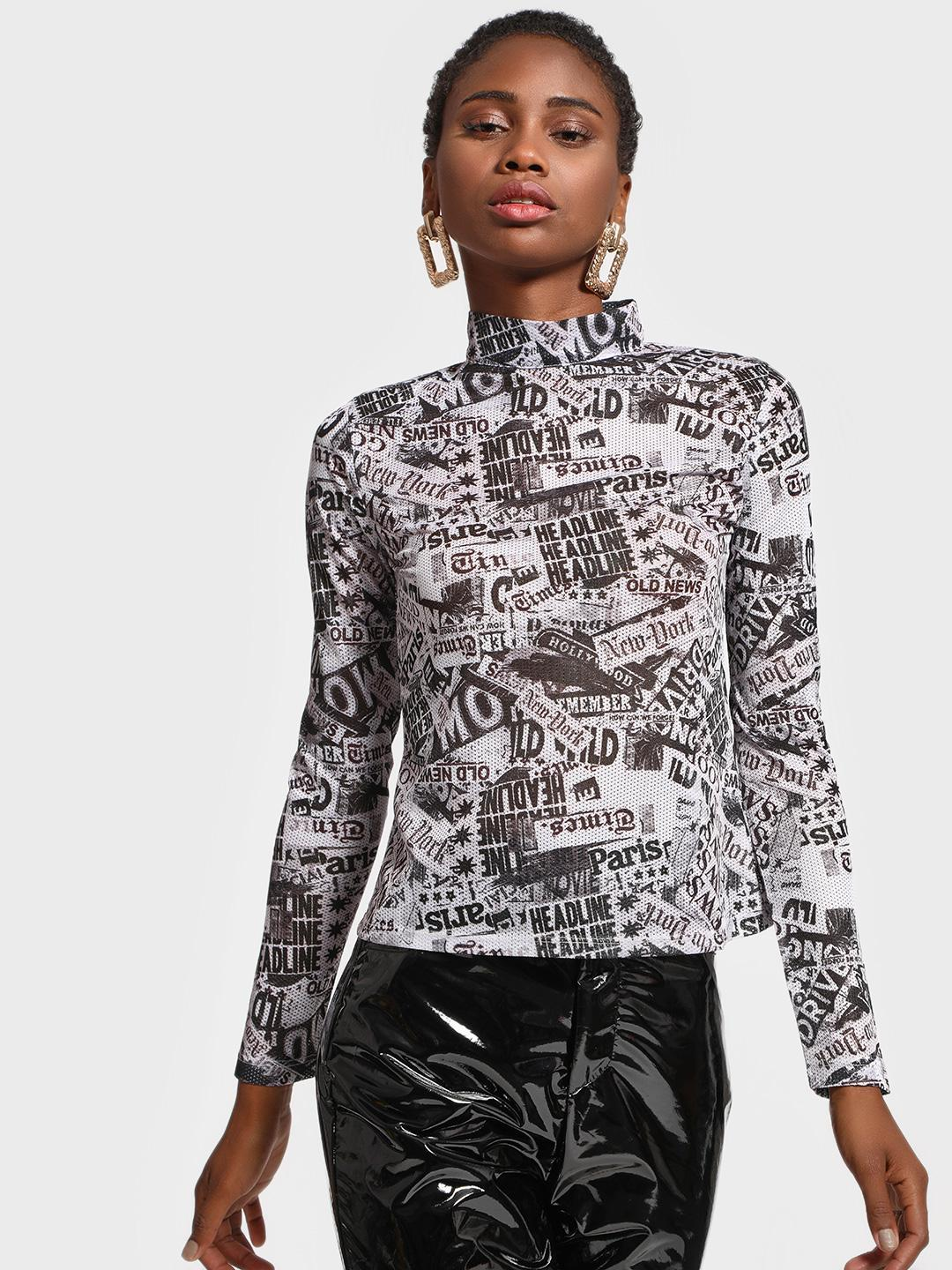 KOOVS Black/White Mesh Newspaper Print Top 1