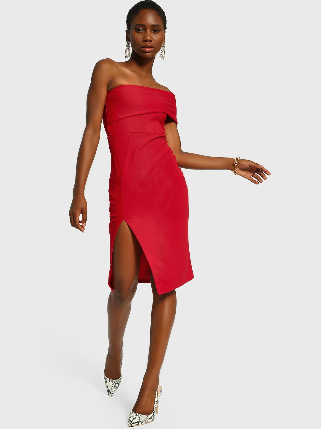 KOOVS Red One Shoulder Bodycon Dress 1