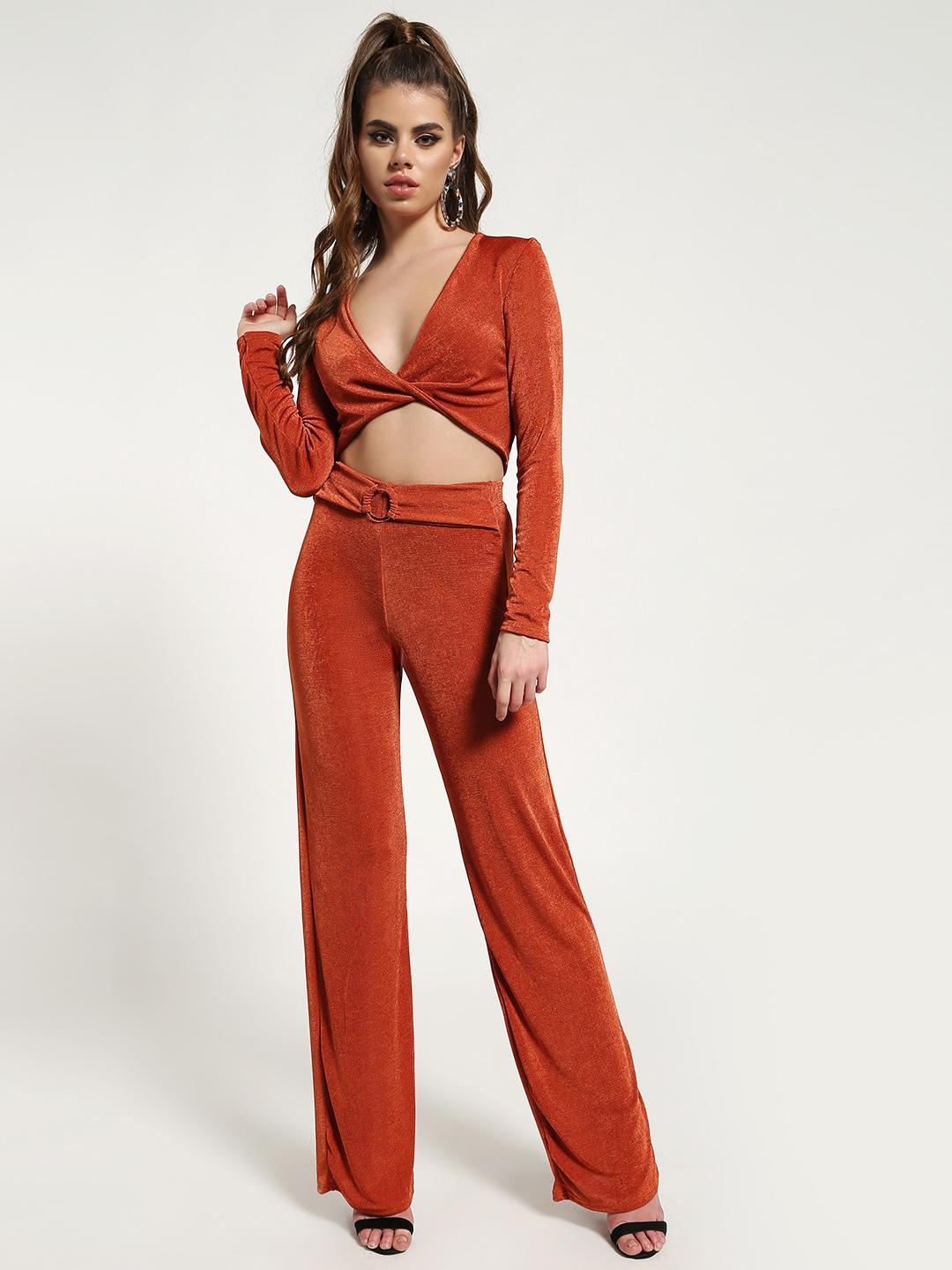 Missguided Orange Twist Front Belted Co-ord Set 1