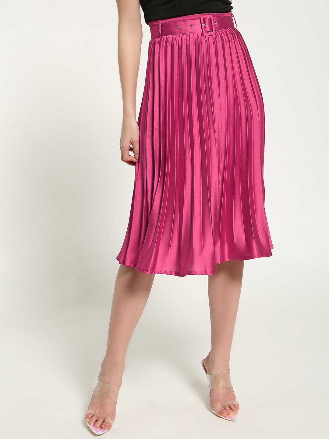 Missguided Pink Satin Belted Pleated Midi Skirt 1