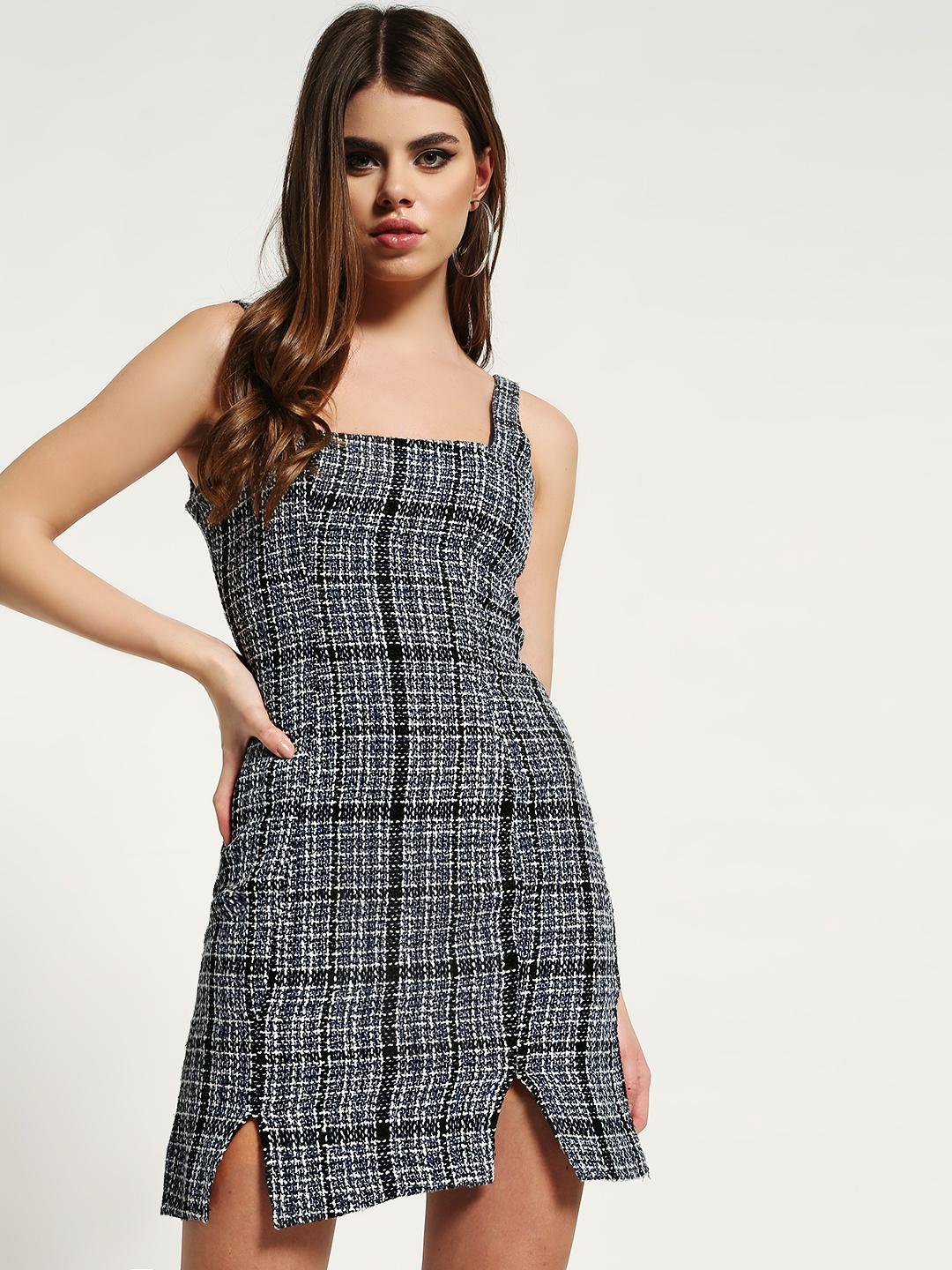 Missguided Navy Boucle Square-Neck Cami Shift Dress 1