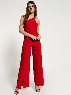 Missguided One-Shoulder Slit-Front Jumpsuit