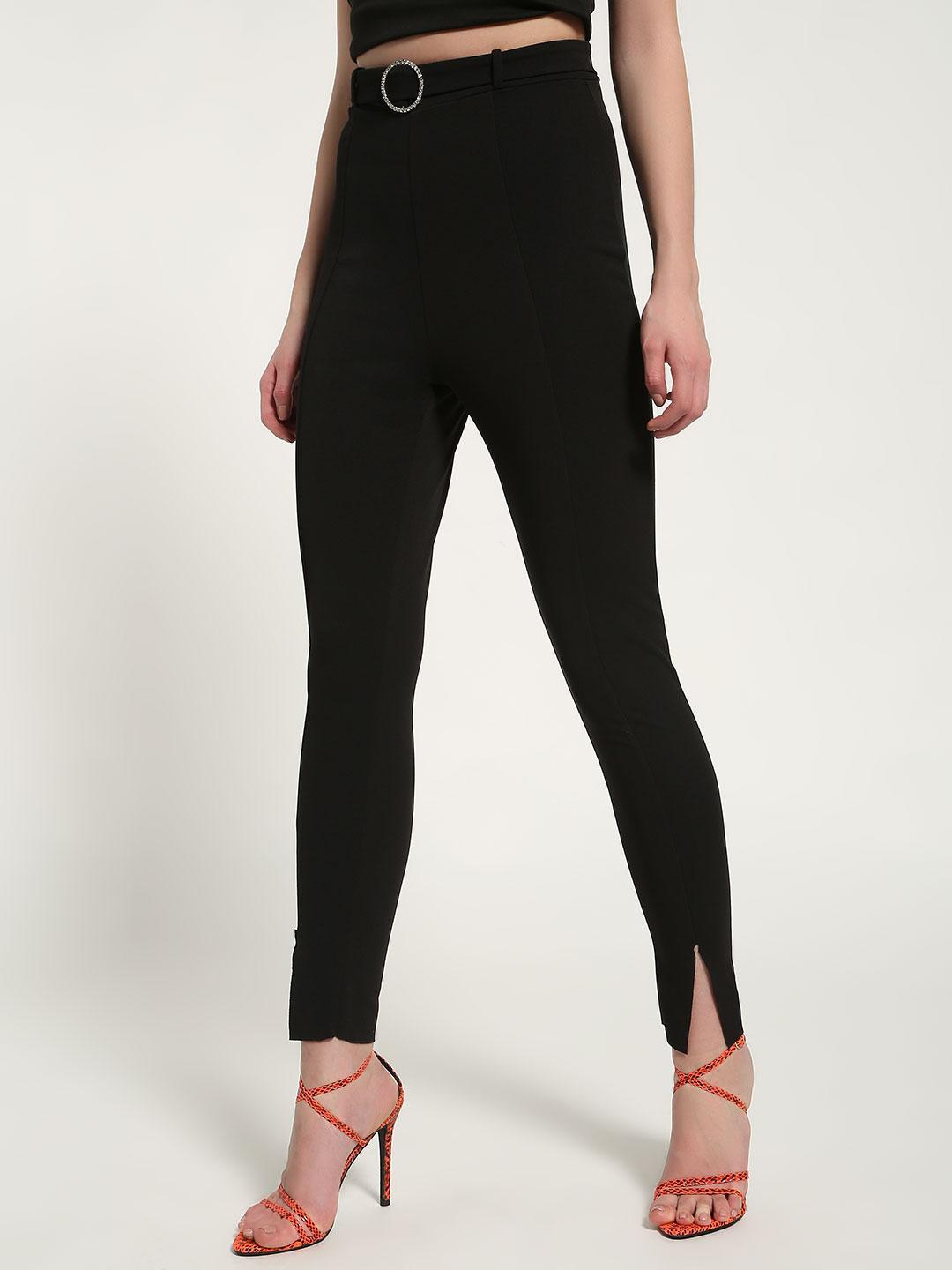 Missguided Black Diamante Belted Slit-Front Cigarette Trousers 1