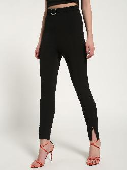 Missguided Diamante Belted Slit-Front Cigarette Trousers