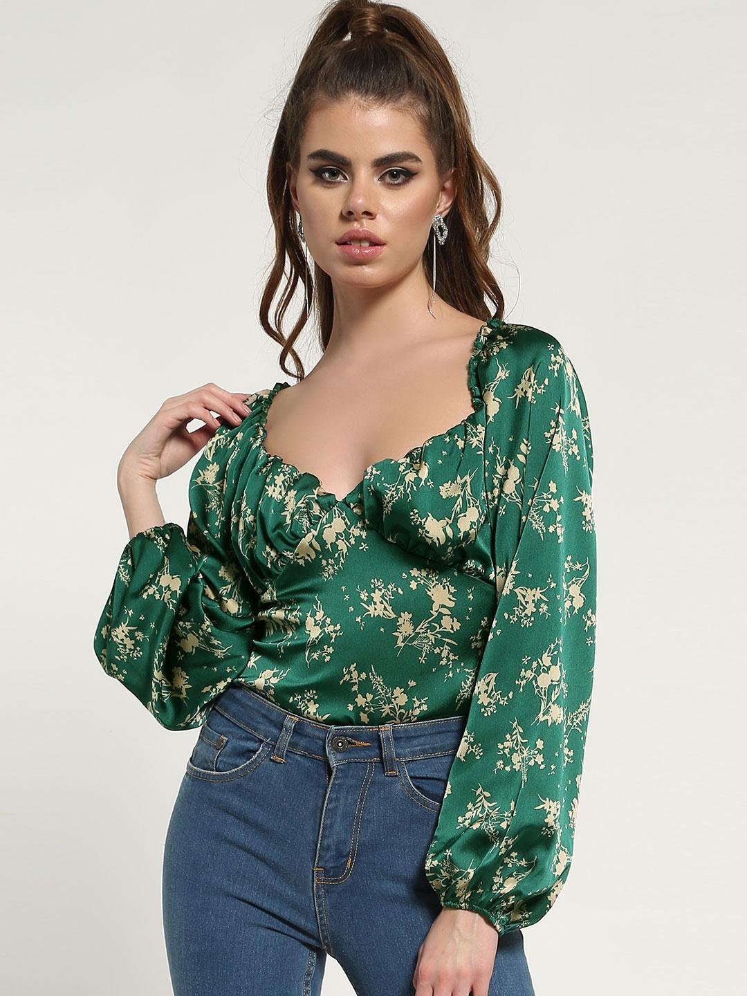 Missguided Green Floral Satin Milkmaid Bodysuit 1