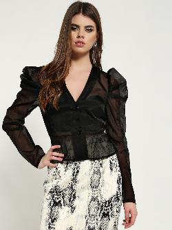 Missguided Puffed Sleeve Organza Peplum Top