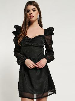 Missguided Organza Puff Sleeve Shift Dress