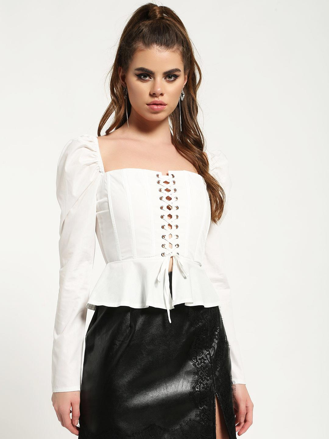 Missguided White Lace-Up Corset Peplum Top 1