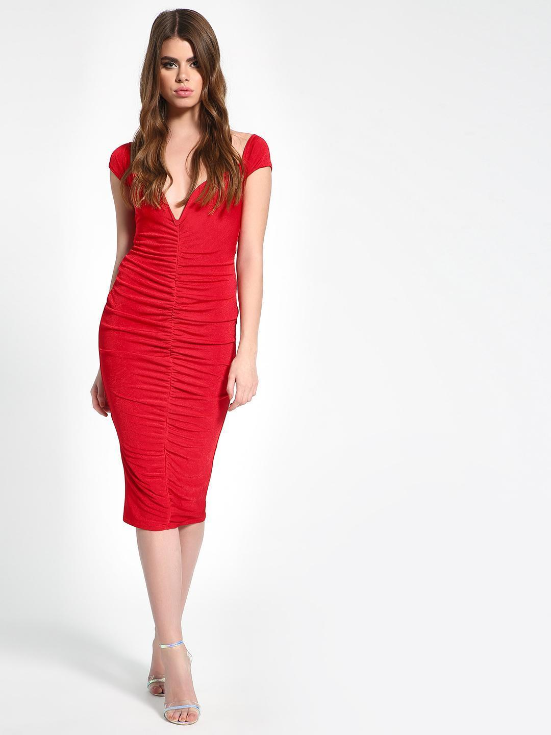 Missguided Red Plunge V-Neck Ruched Midi Dress 1