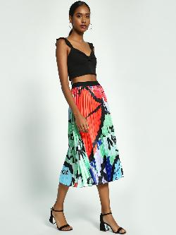 Origami Lily Abstract Print Plisse Midi Skirt