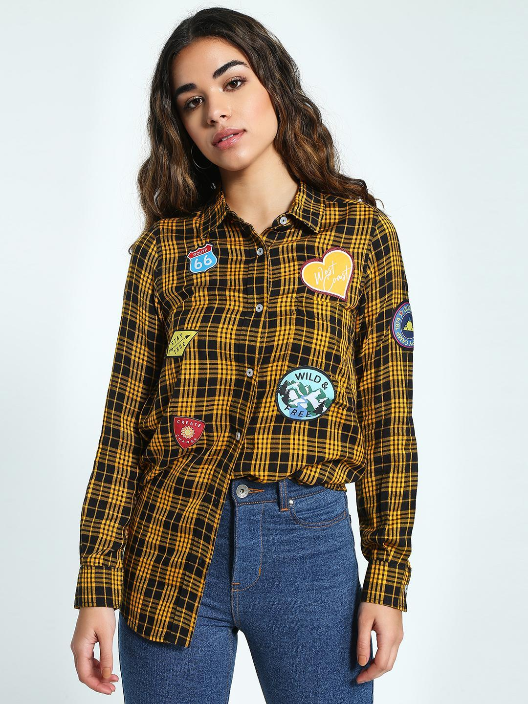 KOOVS Multi Badge Applique Checked Shirt 1