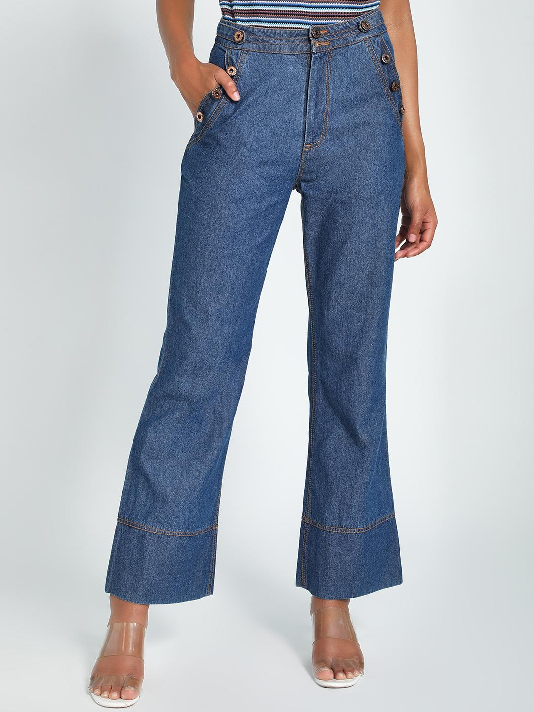 K Denim Blue KOOVS Side Button Flared Jeans 1