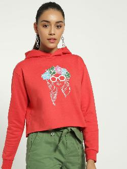 Blue Saint Sketch Face Print Crop Hoodie