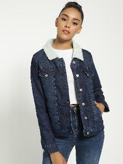Blue Saint Full Lined Borg Denim Jacket