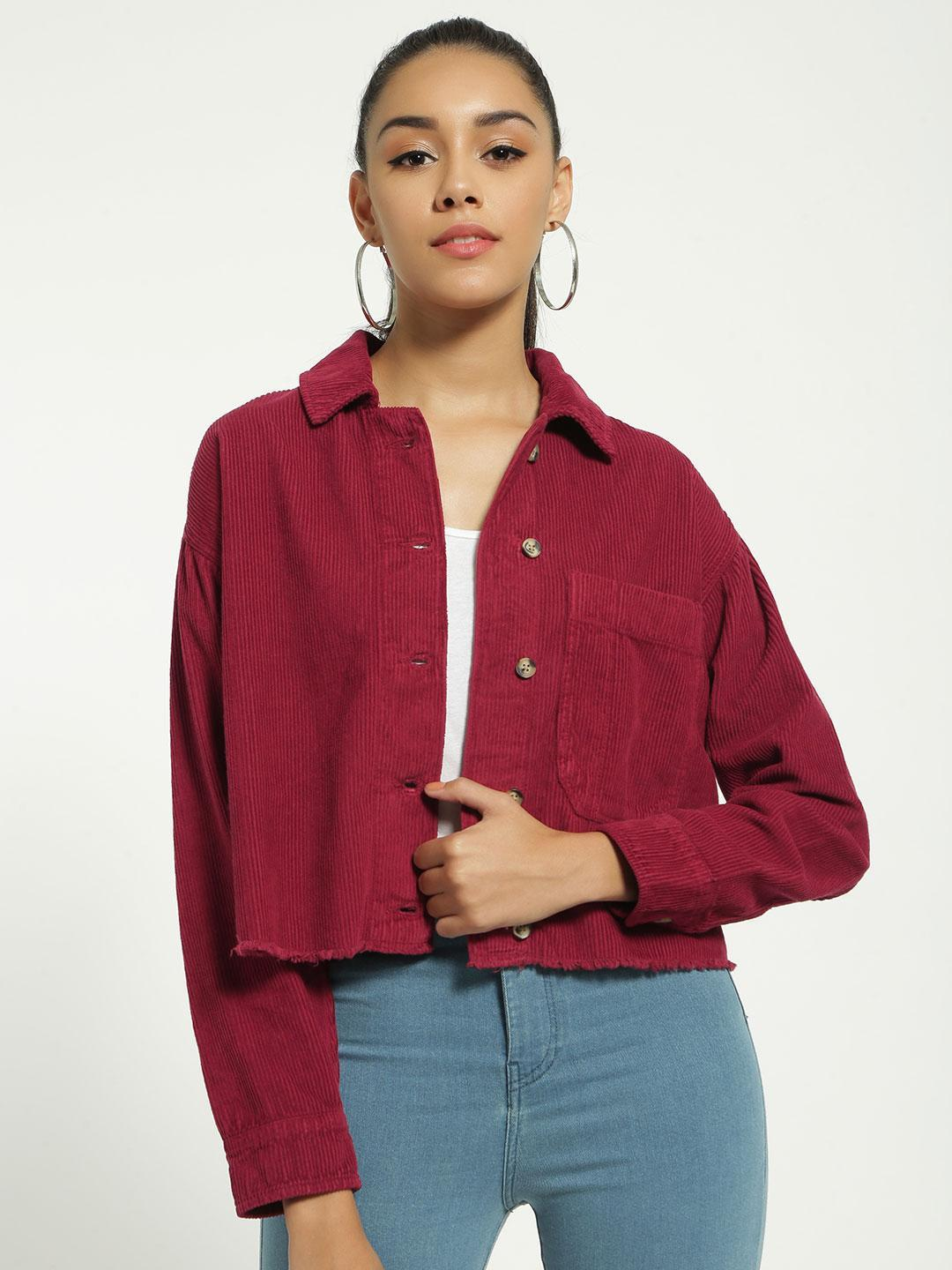 Blue Saint Maroon Corduroy Raw Hem Cropped Jacket 1