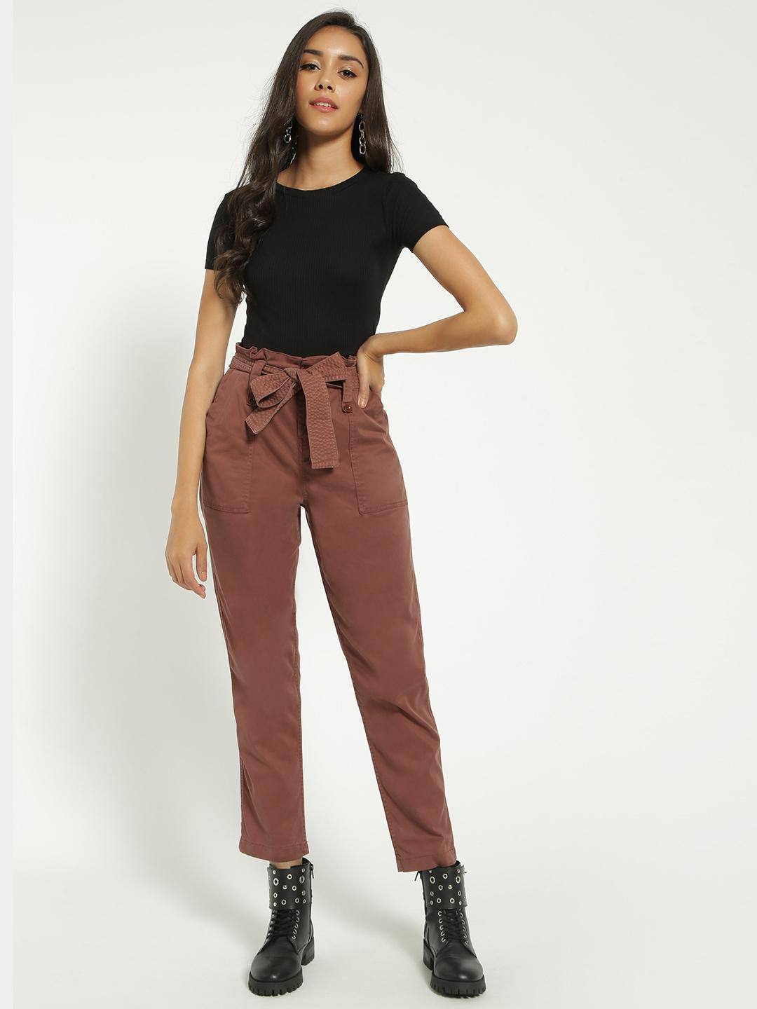 Blue Saint Brown Paperbag Waist Belted Trousers 1