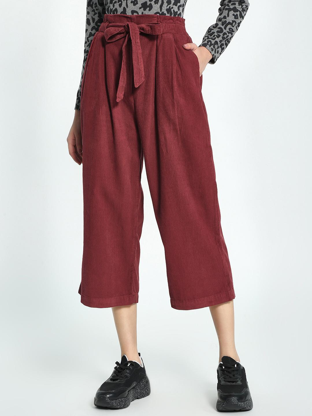 Blue Saint Maroon Corduroy Tie-Up Cropped Trousers 1