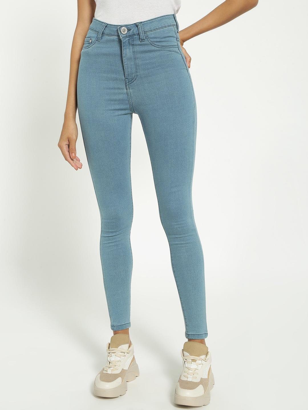 Blue Saint Blue Light-Wash High Waist Skinny Jeans 1