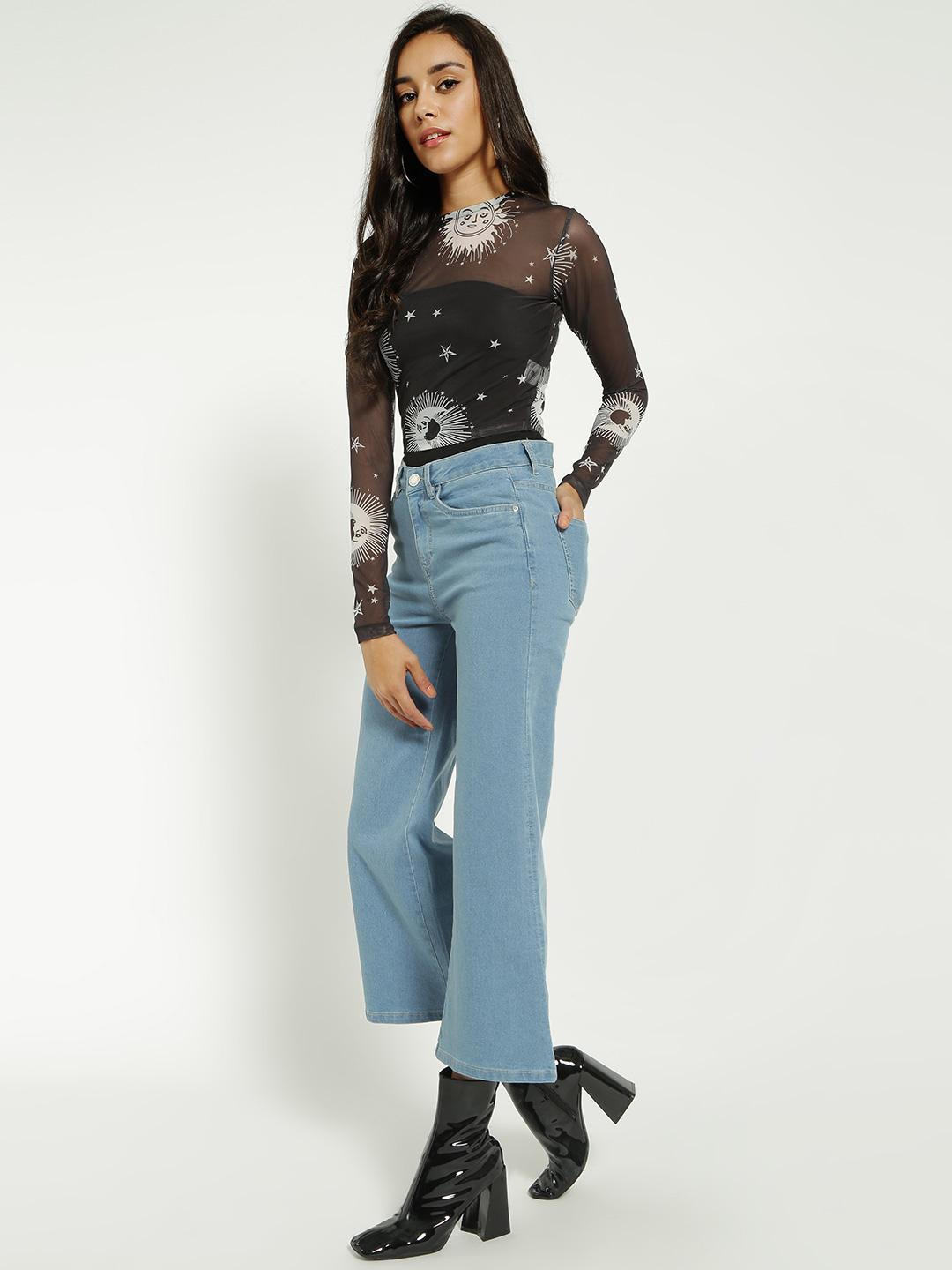 Blue Saint Blue Light Wash Cropped Flared Jeans 1