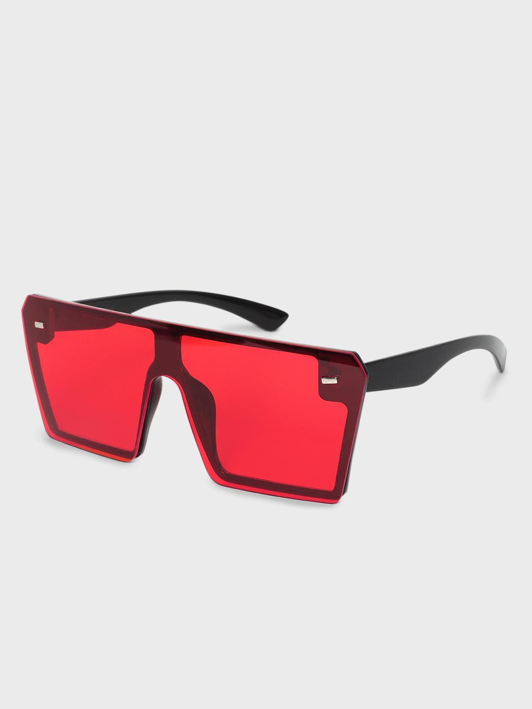 KOOVS Red Coloured Lens Square Sunglasses 1