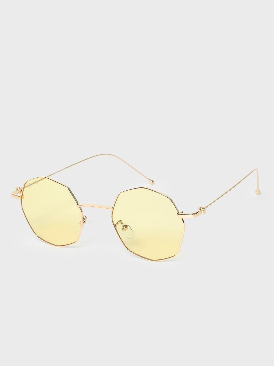 KOOVS Yellow Octagonal Frame Tinted Retro Sunglasses 1