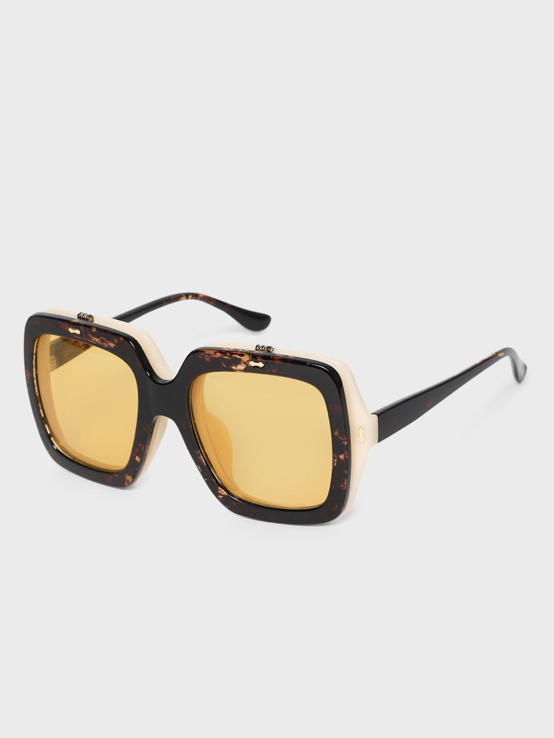 KOOVS Brown Double Frame Square Sunglasses 1
