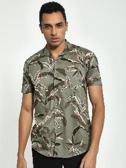 AMON Leaf Print Cuban Collar Shirt