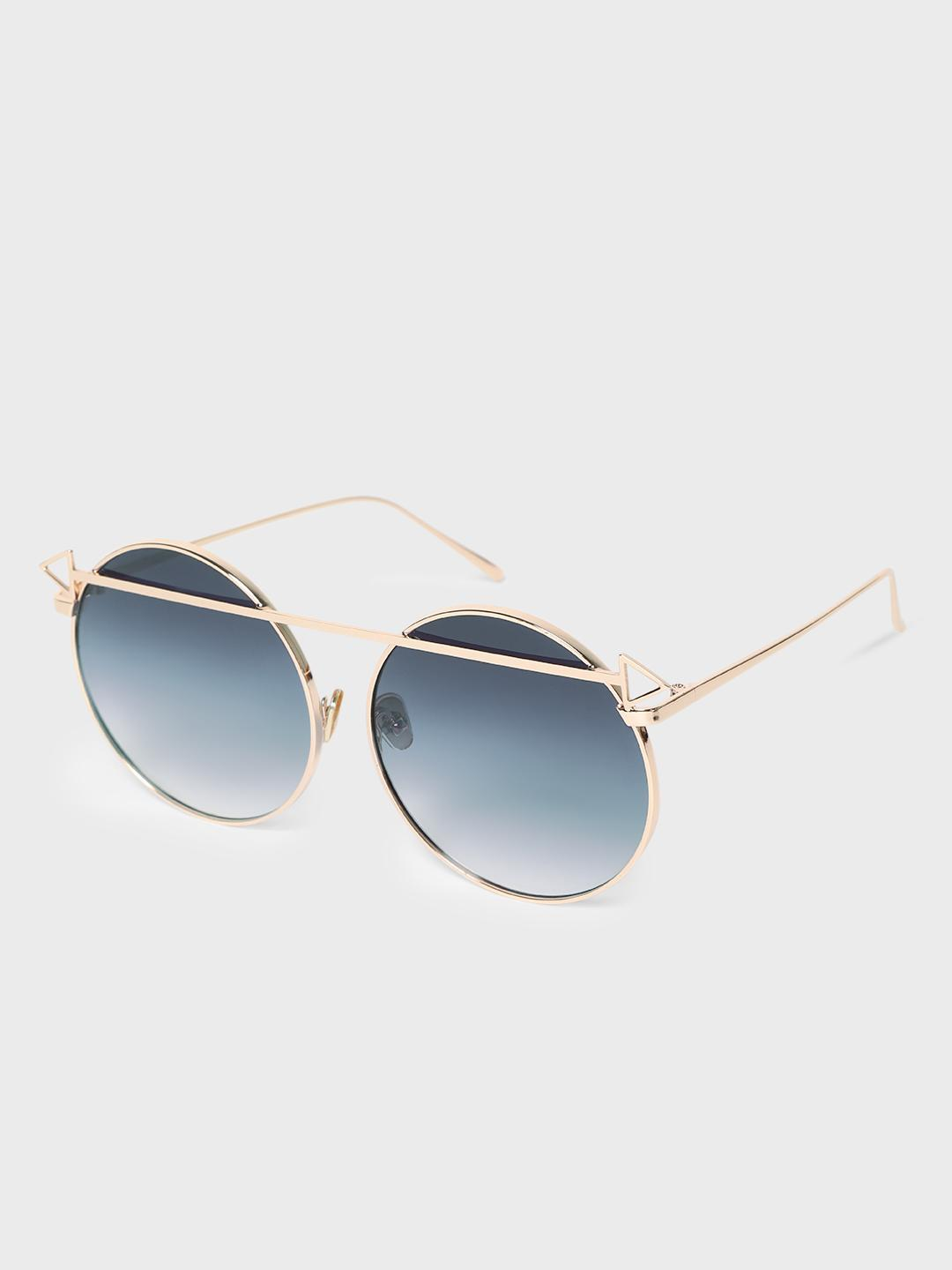 KOOVS Multi Metal Brow Bar Round Sunglasses 1
