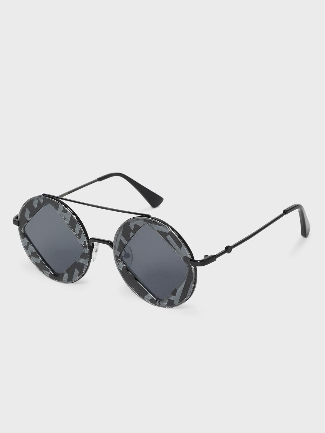 KOOVS Black Diagonal Cut-Out Tinted Round Sunglasses 1