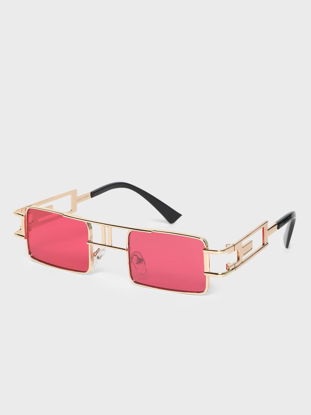 KOOVS Red Metal Frame Square Sunglasses 1