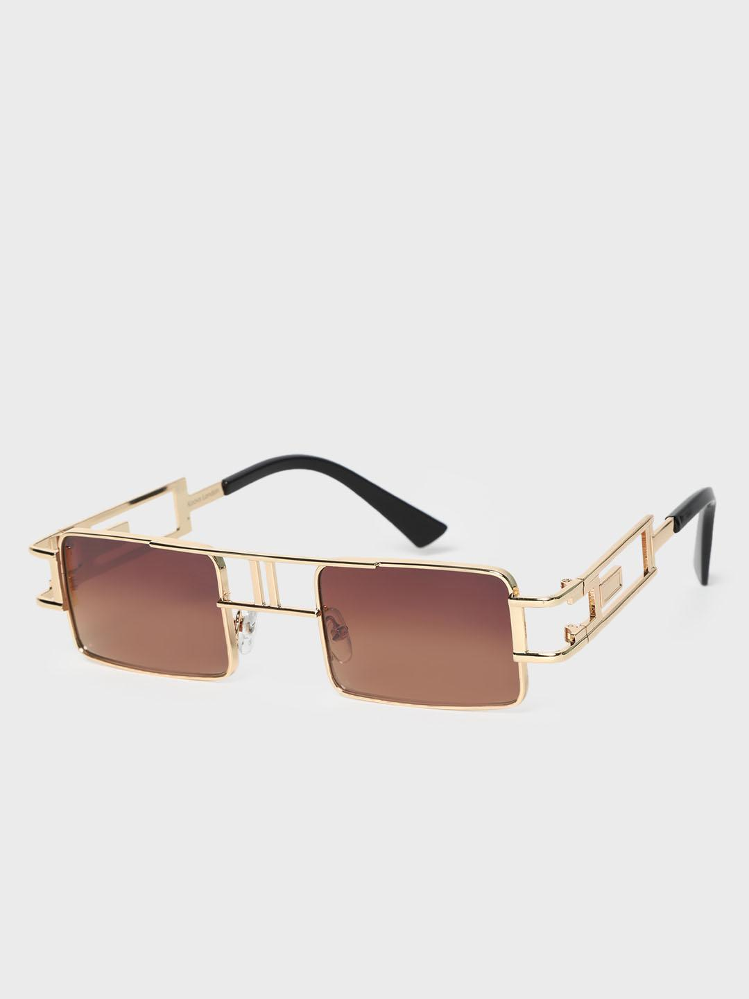 KOOVS Brown Metal Frame Square Sunglasses 1