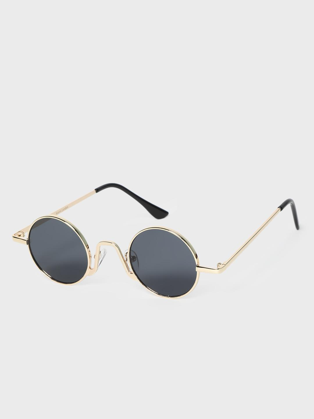 KOOVS Black Coloured Lens Round Sunglasses 1